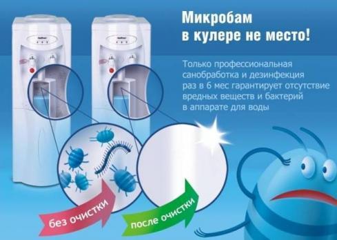 Санитарная обработка кулера для воды.